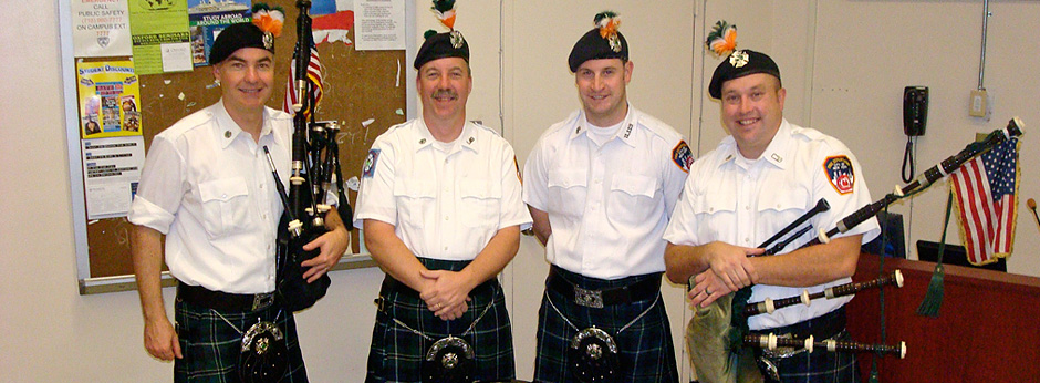 The F.D.N.Y. Pipe Band: The music of Scotland and Ireland transplanted in New York.