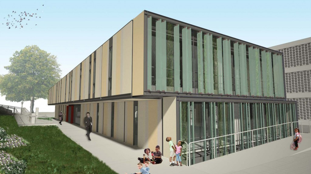 Lehman College Child Day Care Center (Exterior Rendering from Campus)