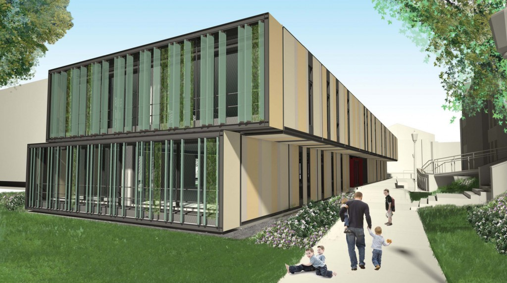 Lehman College Child Day Care Center (Exterior Rendering from Goulden Avenue)