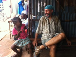 Alumnus Joe Diomede at an eye clinic in Sierra Leone.