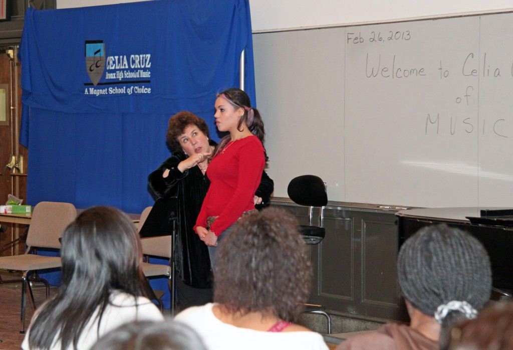 Met vocal coach Deborah Birnbaum gives student Bianca Perez a few tips on how to control her performance anxiety.