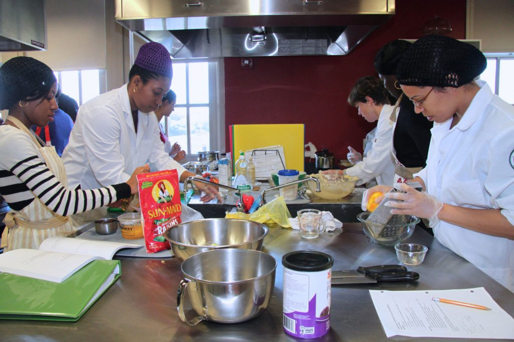 Students learn to prepare nutritious meals as part of their course work.