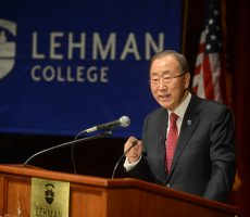 United Nations Secretary-General Ban Ki-Moon delivered the 47th Annual Herbert H. Lehman Memorial Lecture on Thursday, March 17, at the Lovinger Theatre.