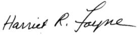 Harriet R. Fayne Signature