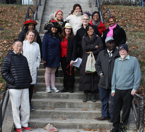 Turkey Trot photo of faculty on steps