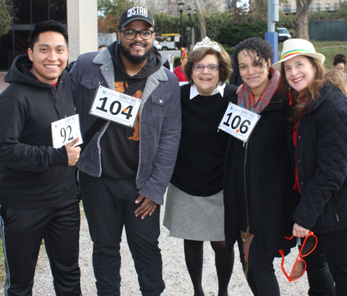 Turkey Trot photo of provost and students